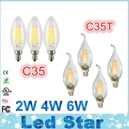 Wholesale Led Candle Bulb Dimmable - 2W 4W 6W Edison LED Filament Bulbs Dimmable E12 E14 E27 Led Candle Lights Lamp 360 Angle Energy Saving AC 110-240V
