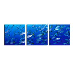 Wholesale Ocean Art Prints - Deep-Sea Fishs Picture 3-Panel Modern Art Underwater Ocean Sea World Giclee Canvas Art