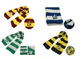 Wholesale striped school scarves - New Fashion 4 Color Harry Potter Scarves Movie Fans' Favorite School Unisex Striped Gryffindor Scarf 50pcs lot Free Shipping
