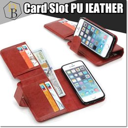 Wholesale Iphone Billfold - For IPhone 7 plus TPU Billfold I7 Wallet Case PU Leather business Card Slot Money Pocket for Samsung NOTE 5 s6 S7 EDGE