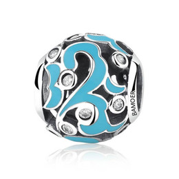 Wholesale Sterling Silver Chamilia Bracelet - Solid 925 Sterling Silver Charm Beads Classic Sky Blue Enamel European Beads fit Bangle Bracelets Chamilia Jewelry For Woman C058
