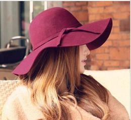 Wholesale Wool Cloche - Wide Brim Beach Retro Hats British Style Summer Ladies Women Wool Felt Fedora Floppy Cloche Bowknot Sun Hat Leisure Trend Joker Caps