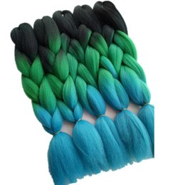 Wholesale Blue Extensions - 24inch 5packs lot Synthetic Jumbo Braiding Hair Extensions Black Green Blue 3Tone Ombre for Crochet Box Twist Braids Hair Bulk Haar Zopfe