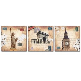 Wholesale Liberty Homes - Amosi Art-Modern Wall Art Home Decoration Printed Painting Pictures 3 Piece Statue of Liberty Arch of Triumph London Big Ben(Wooden Framed)