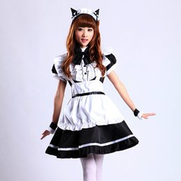 Wholesale Maid Clothing - Wholesale-Lotus leaf laciness black and white Cat ears maid cosplay costume clothes lolita dress women girl Performance clothing 2 colors