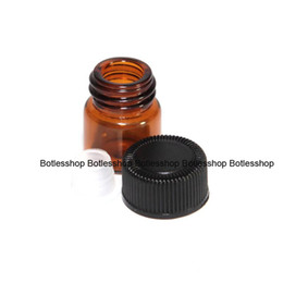 Wholesale Small Bottles 1ml - In Stock Now !! Drak Amber 1 4 Dram 1Ml Amber Small Glass Vial Bottle With Black Cap For Essential Oils