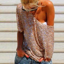 Wholesale Ladies Bling Tops - Sexy Summer Women Ladies Sequin Bling Shiny Casual Blouse O Neck Half Sleeve Clubwear Tops