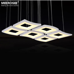 Wholesale Art Deco Shapes - Modern LED Chandelier Light Fixture White Acrylic Hanging Lamp Lustre LED Windows shape Drop Light for Living room Dining room
