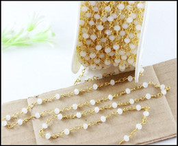 Wholesale Rosary Beaded Chains - 5Meter LOT White Spinel Rosary Style Beaded Chain,Gold plated Wire Wrapped Beaded Chain Rosary chain faceted beads jewelry