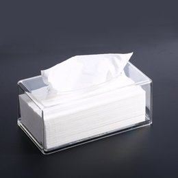 Wholesale Tissue Box Holder Organizer - Modern Clear Acrylic Facial Tissue Dispenser Box Cover Holder Acrylic Rectangle Napkin Organizer for Bathroom, Kitchen and Office Room