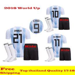Wholesale Messi Jersey Kids - Argentina 2018 World Up kids soccer jerseys sets 17 18 Thai quality AGUERO DI MARIA MESSI Argentina football shirt Camisetas de futebol kits