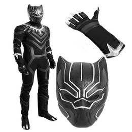 Wholesale Halloween Costume Captain America - New Version Captain America 3 Guerra Civile Black Panther T'Challa Cosplay Costume Chrismas Customize Lifelike Halloween with Gloves Shoes