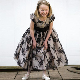 Wholesale Girl Dres - Vintage Cap Sleeves Flower Girls Dresses Children Jewel Lace Tea Length Girls Pageant Gowns With Ribbon Bow Kids Formal Wear Party Dres