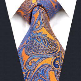 Cravatta arancione gialla online-Cravatte da uomo U26 floreale arancione giallo blu cravatte 100% seta jacquard nuovo di zecca