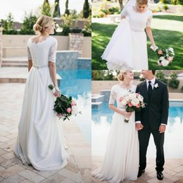 Wholesale T Back Chiffon Bridal Dress - 2016 Country A Line Lace Appliques Wedding Dresses Half Sleeves Jewel Neck Sweep Train Belt Button Back Plus Size Chiffon Beach Bridal Gowns