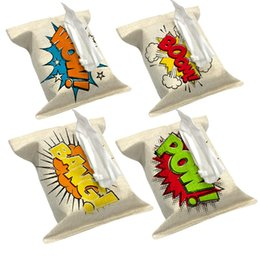 Wholesale Tissue Box Covers Wholesale - Wholesale- Comic Style Letter Boom Words Pop Art Style Decorate Tissue Boxes Fabric Linen Cover Car Home Office bathroom