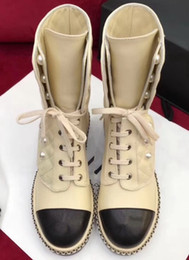 Wholesale Head Snow - new fashion Lace-Up Martin Boots woman boots Round head chunky heel Pearl decoration Snow boots free shipping YU56