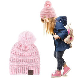 Wholesale Cute Spring Hat For Baby - Fashion CC Beanie Kids Knitted Hats Cute Fur Ball Pompom Winter Baby Caps Thick Cotton Childrens Warm Trendy Soft Hat for Boys Girls