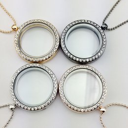 Wholesale Floating Locket Gold - 4 Colors Floating Locket Pendant Necklace women Magnetic Living Memory Glass Floating Charm Locket With bead Chains DIY necklaces