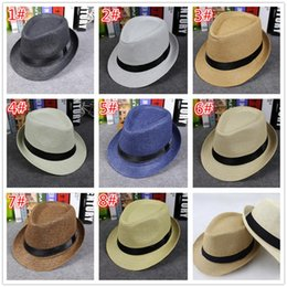 Wholesale boys summer fedora straw hat - fashion children Straw Hats Soft Fedora Panama Hats Outdoor Stingy Brim Caps 8 Colors Choose D761