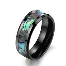 Wholesale Shells Buy - 100% Tungsten carbide Buy Cheap Price USA Brazil Russia Hot Sales 8mm Mother Pearl Abalone Shell Tungsten Carbide Ring Mens Wedding Band