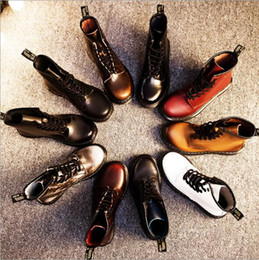 Wholesale Tube Couple - 2016 Christmas -Autumn and winter Mading boots flat low-heeled leather boots in the tube womens and men couple leather motorcycle boots.