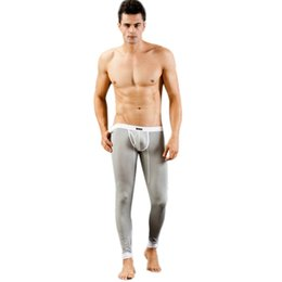 Wholesale Low Rise Sexy Trousers - Wholesale-Fashion New Sexy Men's Low Rise Modal Underwear Long johns Thermal Pants Underwear Trousers