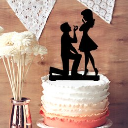 Wholesale Engagement Cakes - Fiance and Fiancee Engagement Cake Topper, Wedding Engagement Silhouette for Cake Decoration, Valentine's Day Engagement Cake Decoration