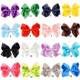 "Wholesale Hair Clips Bow Lace - 16 pcs lot New Fashion 6"" Handmade Solid Satin Lace Hair Bow For Baby Girls Boutique Layers Bow With Clip Children Hair Accessories"
