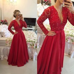 Wholesale Grace Pictures - Hot Sale Grace A Line Prom Dresses 2017 Deep V-neck Long Sleeve Evening Dress Beaded Long Red Lace Prom Gowns