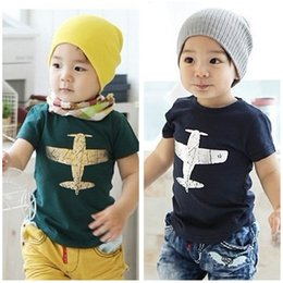 Wholesale Girls Plane T Shirt - Children's Discount Price Kids Clothes Pure Cotton Plane Picture Short Sleeve Boys Girls T Shirt 2-8Year Children Tee Shirts Baby T Shirt