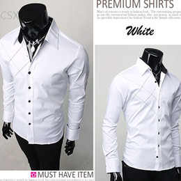 Wholesale Dress Shirt 22 - Wholesale- 2016 Mens Casual Slim fit Stylish Long Sleeve Dress Shirts Luxury Polyester and cotton shirts Black   White drop shipping 22