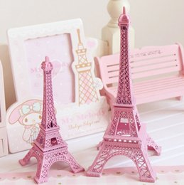 Wholesale Eiffel Tower Decorations Wedding - 25cm 10 inch pink Paris Eiffel Tower model Metal Art Crafts Unique Decor Wedding centerpieces table centerpiece