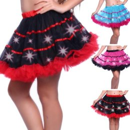 Wholesale Tutu Led - 3 Colors LED Adult Dance Performance Skirt Flashing Sparkling Tutu Skirts Fancy Costume Light Mini Tutu Ball Gown Skirts CCA8104 50pcs