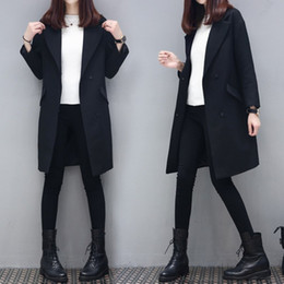 Wholesale Jackets Hidden Pockets - Women Blazers And Jackets Spring Long Blazer Feminino Manga Longa Full Sleeve Black Blazer Women Hot Sale Loose Blaser Plus Size