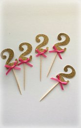 Wholesale Cake Number - cheap Glitter Number with Hot Pink bow cupcake toppers Food Picks Bachelor Bachelorette Wedding Bridal Engagement Lingerie Party 30pcs