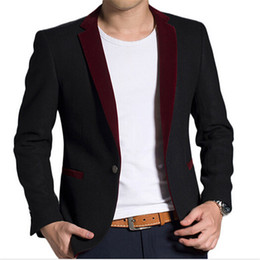 Wholesale Luxury Black Velvet Jacket - Wholesale-2016 New Arrival Luxury Velvet Blazer Men Autumn Fashion Design Mens Black Single Button Wool Blazer Suit Jacket Brand Coat Male