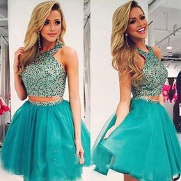 Wholesale Cheap Pretty Green - Bling Two Pieces Hunter Short Prom Dresses 2016 Tulle Beaded A-line Elegant Homecoming Dresses Pretty Party Dress Cheap Formal Evening Gowns