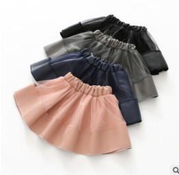 Wholesale Mesh Ruffle Skirt - Girls princess skirts kids PU mesh tulle splicing skirts cute child elastic waist all-match Skirts winter sweet girls pleated skirt G1502
