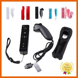 Wholesale Wiiu Game - Colordul 2 in 1 Nunchuck And Wireless Remote Game Controller+Wrist+Silicone Case For Wii WiiU 5 Color