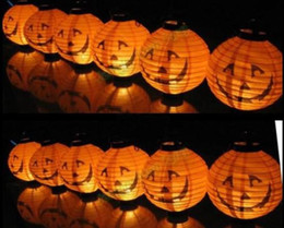 Wholesale Halloween Lights Lantern Ghost - Halloween Halloween Pumpkin Spider Ghost Bats Paper Lantern Lamp outdoor Decoration light 12 pcs  lot