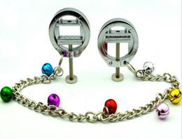 2019 campanas pezón cadenas 2017 femenino ajustable Bondage anillo de pezón clips de prensa con campana abrazaderas de cadena dispositivo estimulador de senos adultos BDSM juguete sexual campanas pezón cadenas baratos