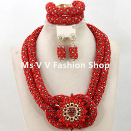 Wholesale Handmade Necklace Lace - african beads jewelry set coral red gold handmade crystal necklace bracelet earrings set fit for nigerian wedding aso ebi french lace dress