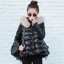 Wholesale Thick Winter Women Korean Coat - Wholesale-Plus Size 2016 Korean Fashion Winter Women Cotton Coat A-line Cute Thick Real Fox Fur Collar Warm Jacket PU Parkas AE281