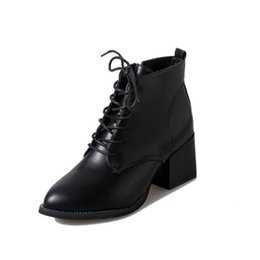 Wholesale Thermal High Heel - PP FASHION Womens Formal Wedge Pointed Toe Fall Winter Ankle High Boots Thermal Lace-up Zipple Shoes