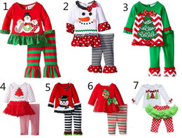 Wholesale Fall Baby Outfits - 2016 baby Christmas outfit girls deer christmas tree t-shirt + ruffle pants 2pcs sets children polka dot tops kids spring fall wear outfit