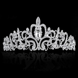 Wholesale Crown Combs - PrettyBaby Bridal Wedding Crystal Rhinestone Crown Heart Crown Pageant Silver Plated Women Children Tiaras Hair Comb Headband tiara
