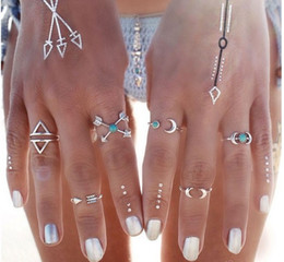 Wholesale Moon Stone Rings - Fashion loose stone moon arrow joint ring 6 pcs of combination packages Alloy Ring Women silver wedding engagement rings jewelry Wholesale