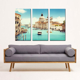 Wholesale Venice Italy Painting - Spirit Up Art Huge Home Decorations-Italy Venice Canvas Print Modern Wall Painting Art set Landscape Painting on Canvas For Living Room