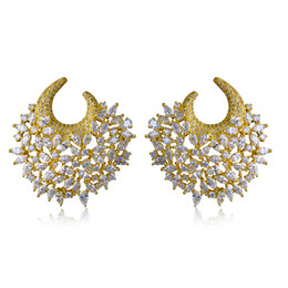 Wholesale Large Gold Stud Earrings - Absolutely Gorgeous Earrings! Gold plate With White Cubic Zirconia Large Unusual earrings